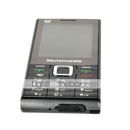 WOTO A530 Dual Card Quad Band TV Function Ultra-thin Flat Touch Screen Cell Phone Black