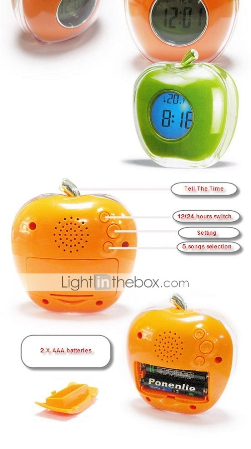 Digital Apple Desktop Talking Alarm Clock Thermometer Green(CEG092)