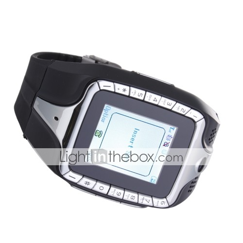 w88 tri bande FM écran tactile Bluetooth Watch Cell Phone Black (2GB Card TF) (sz05150726)