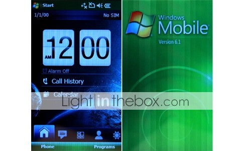 U6 Windows Mobile 6.1 WiFi GPS Bluetooth Java cuádruple banda plana de pantalla táctil teléfono celular inteligente negro (tarjeta de 2GB TF) (sz04580