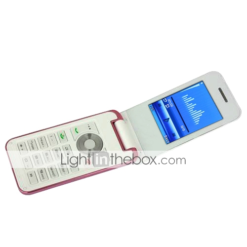 Q300 MINI Dual Card Dual Standby Metal Cover Ultra Thin Dual Bluetooth Flip Cell Phone White and Pink (2GB TF Card)