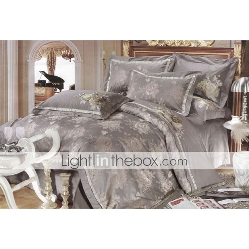 6-pc Luxury Gray Jacquard Cotton Full Size Duvet Cover Set - Free Shipping (0586-FZ008)