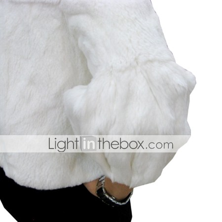 Three-Quarter Sleeve Genuine Fox Fur Collar/  Rabbit Fur Jacket Women's Fur Pea Jacket More Colors (0107AL006-0736)