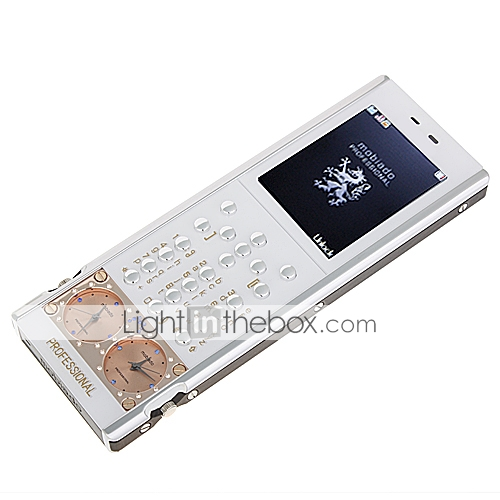 Mobiado Exalted Classical Fashion Quad Band Dual Card Dual Watch Metal Keys Cell Phone White (2GB TF Card)