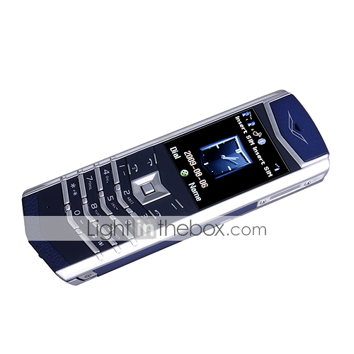 78S Dual Card Tri Band Metal Cover Bluetooth Cell Phone Blue and Silver (2GB TF Card and Leather Case)