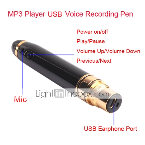 4gb mp3-speler usb voice recording pen (kly101)