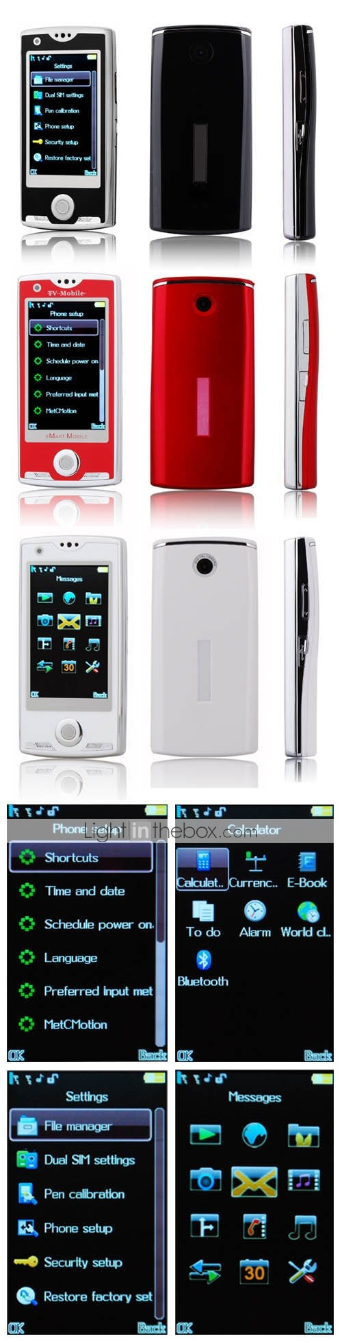 Z105 Quad Band Dual Card TV JAVA Dual Camera Trackball Design Flat Touch Screen Slide Cell Phone (2GB TF Card)