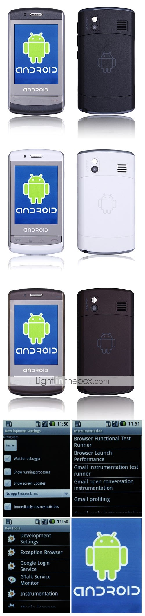 9500 Google Android System Dual Band GSM850/1900MHz WIFI JAVA Touch Screen Smart Cell Phone (2GB TF Card)
