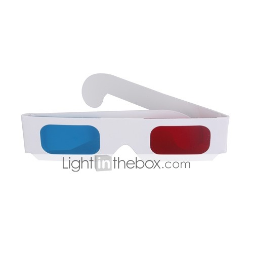Re-useable Sport Style Plastic Frame Resin Lens Anaglyphic Red + Blue 3D Glasses