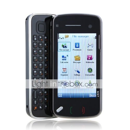 n97mini wifi quad-band dual kaart TV java qwerty mobiele telefoon zwart (2GB TF-kaart)