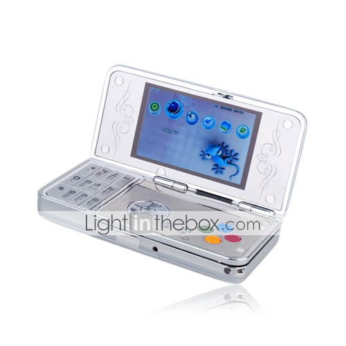 E75 Dual Card Quad Band Dual Camera TV Function Dual Screen Slide and Flip Cell Phone Silver (2GB TF Card)