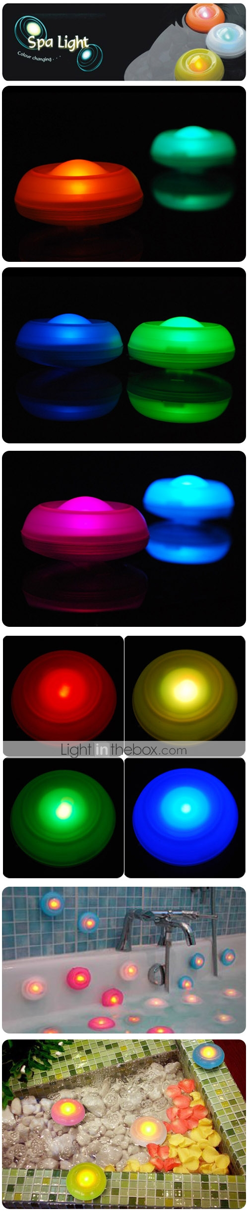 Colorful Floating Bathtub LED Candle Light (packed with 2 pcs)
