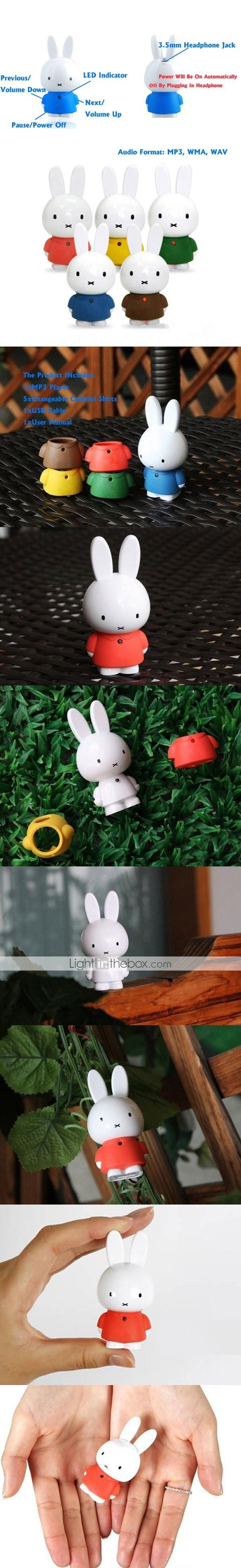 4GB Rabbit Cartoon MP3 Player With Changeable Color