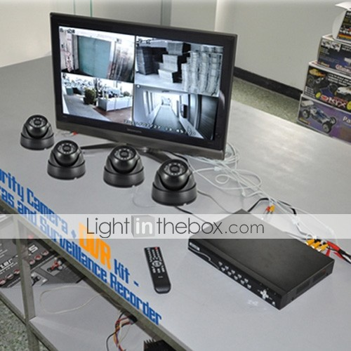 Complete Surveillance System with 4-Channel Embedded Linux DVR and 4 Cameras