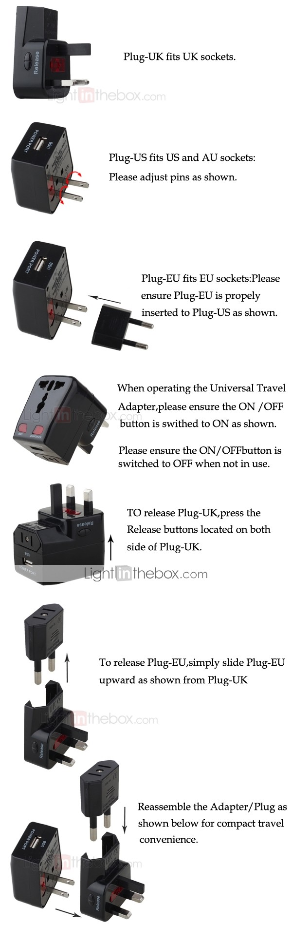 Universal Travel Adaptor with USB - Europe - Asia - USA - UK (SNQ5451)