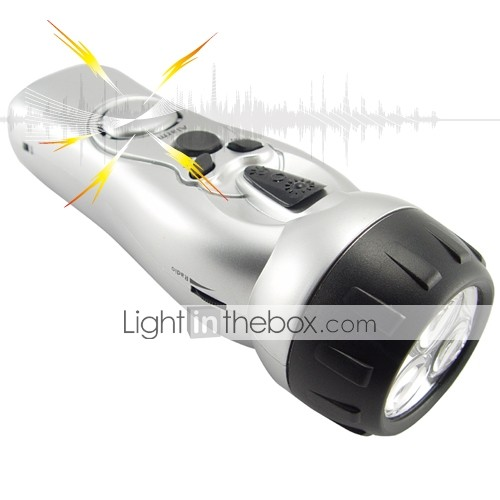 Wind Up LED Flashlight with Cell Phone Charger Alarm and Radio