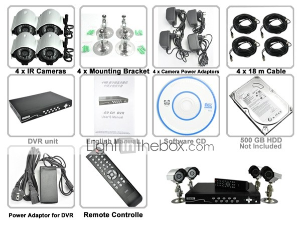 Security Camera DVR Kit with 5 Surveillance Camera Recorder Set