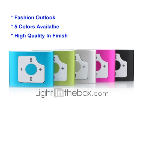 TF Card Reader MP3 Player With Clip (5 Colors Available)