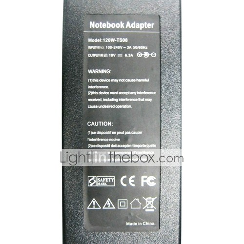 APOKIN Laptop Adapter Charger 19V-6.3A  120W for TOSHIBA(UK plug)