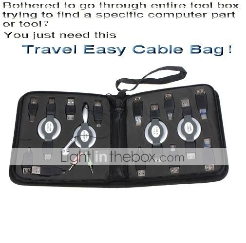 Portable Travel Easy Cable Bag With 14 PCS Fittings-USB Hub-RJ45 RJ11 Connector-Multiple Adapters(SMQ5810)