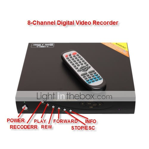 8 Channel A/V In/Out Put Digital Video Recorder Remote PTZ control Support TCP/IP protoco