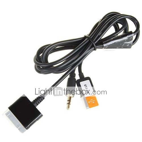 3-in-1 usb 3,5 mm aux audio / data / oplader kabel voor alle iPod / iPhone 2g/3g/3gs (hf259)