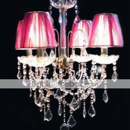 Iron and Crystal Chandelier with 4 Lights (K9 Crystal + Rose Shade)