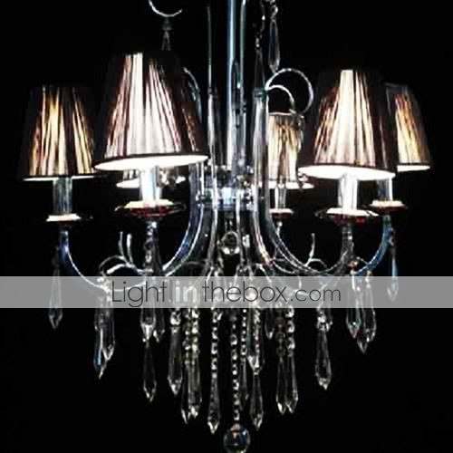 Iron Chrome 6-light K9 Crystal Chandelier With Lamp Shade (0835-AD88116)