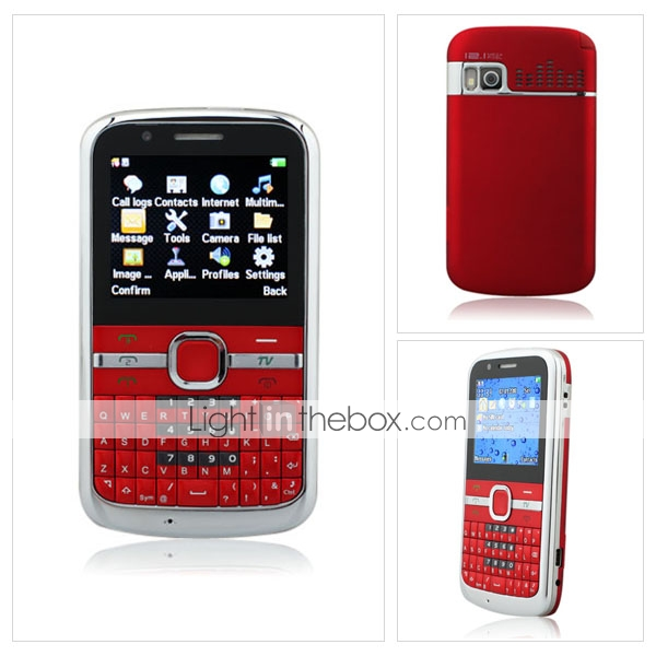 E5-TV Three Card Quad Band Dual Camera TV QWERTY Cell Phone Red(2GB TF Card)