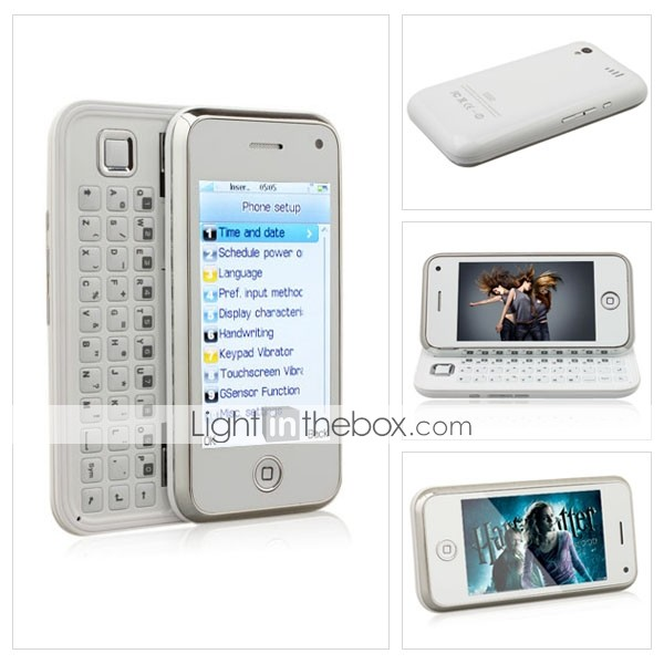 yphone 168 de doble tarjeta de tv wifi qwerty java 3.2 pulgadas de pantalla tctil telfono celular blanco (tarjeta de 2GB TF) (sz09890105)