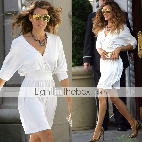 TS White Long Sleeves V-Neck Party Dress Inspired by Sex and the City Style