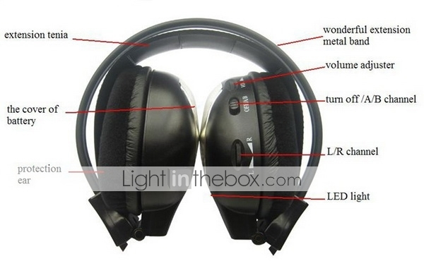 2 PCS 2-Channel Infrared Stereo Wireless Headphone - WIR - 2010 C