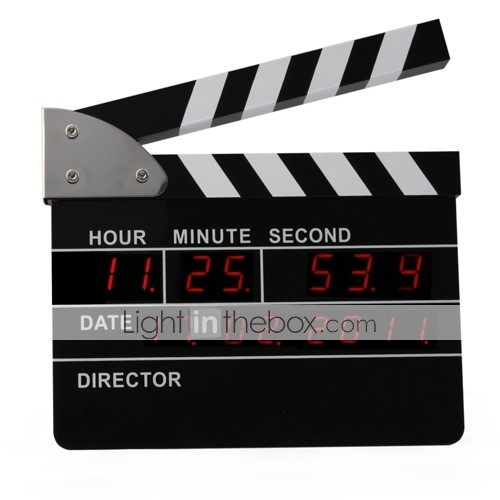 Clapperboard Digital Alarm Clock / Desk Clock / Wall Clock