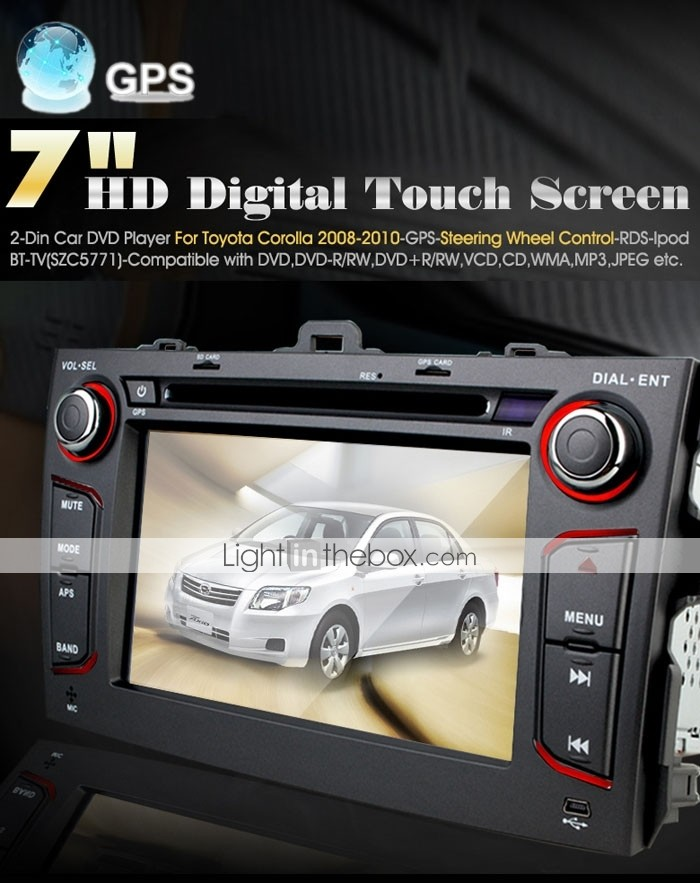 7 pulgadas de coches reproductor de DVD para toyota corolla (2008-2010) con gps tv