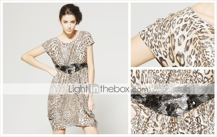 TS Backless Leopard Cowl Collar Dress