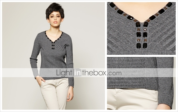 Beaded Neckline Long Sleeves Pullover / Womens Pullovers (FF-C-Bl0736610)