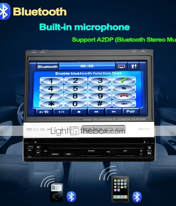 7 Inch 1Din Car DVD Player with GPS IPOD RDS