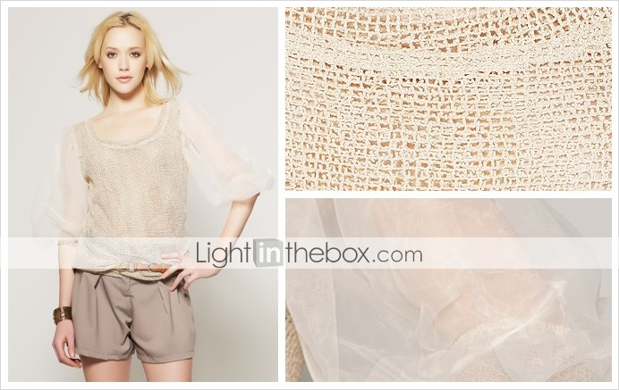 TS Nude Puff Sleeved Mesh Blouse
