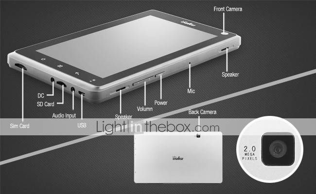 ouku zilver - android 2.2 tablet w / 7 inch capacitive touchscreen + wifi + gps + 3g
