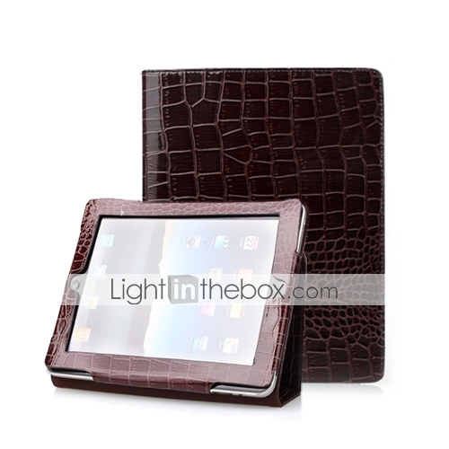 marrone 2 in 1 custodia protettiva in pelle di coccodrillo per ipad