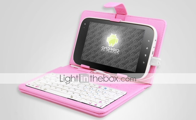 Super Protective Leather Keyboard case for 7 Inch Tablet PC/PAD (PINK)