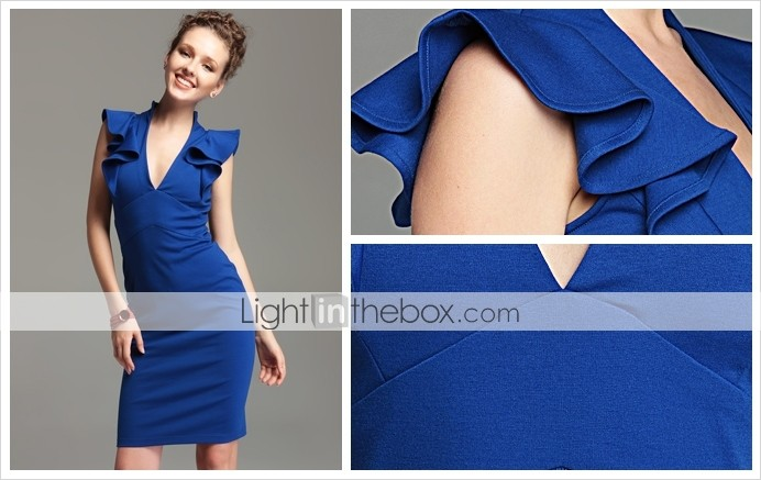 TS V Neck Ruffle Bodycon Dress(2 Colors)