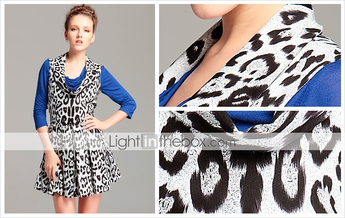 TS Printed Pleated Cowl Neck Dress