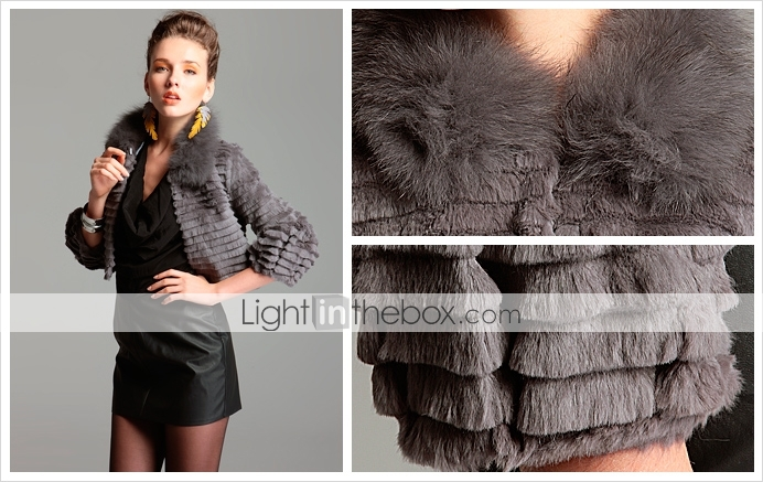 TS Fox and Rabbit Fur Quarter Sleeve Coat