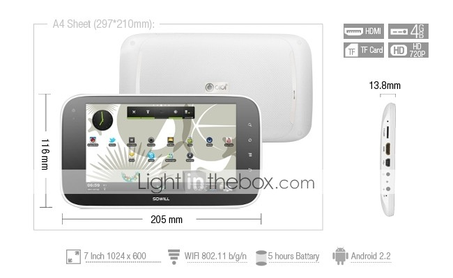 OIOI S7 - Android 2.2  Tablet with 7 Inch 1024x600 Capacitive Touchscreen Cortex-A8 800MHZ  for Universiade 2011