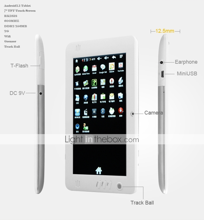 ouku tab - android 2.1 tablet met 7 inch hd touchscreen (wit)