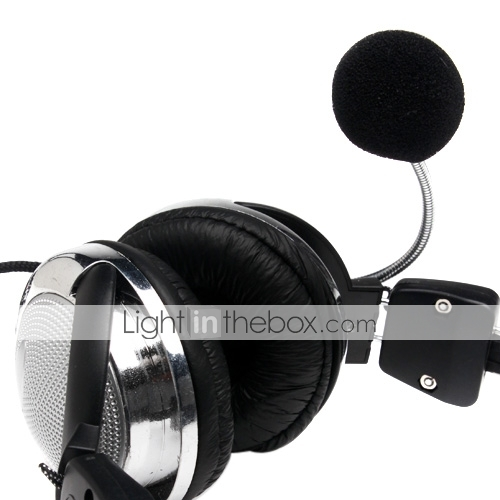 Estreo de 3,5 mm shiny silver headphone com microfone