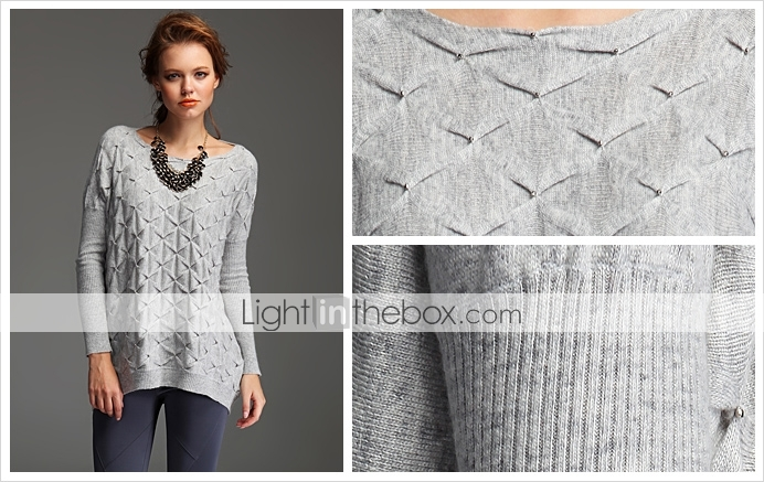 TS Beaded Loose Fit Sweater With Ribbed Sleeves