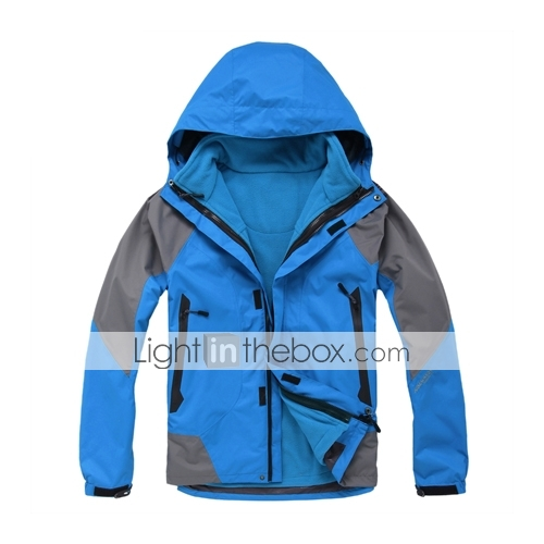 Eamkevc - Mens Triple Layer Breathable Waterproof Ski Jacket Contrasted Color Three-in-one