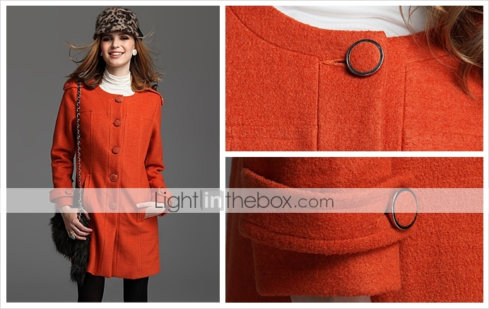 TS Wool Blend Military Round Neck Coat